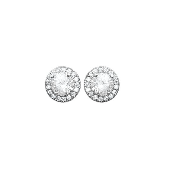 "Boucles d'oreille rondes brillants en argent rhodié collection ""Smart"""