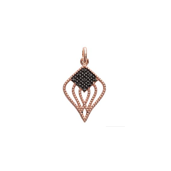 "Pendentif plaqué or rose inspiration Gypsy avec micro brillants noirs et blancs collection "" EXQUISE"""