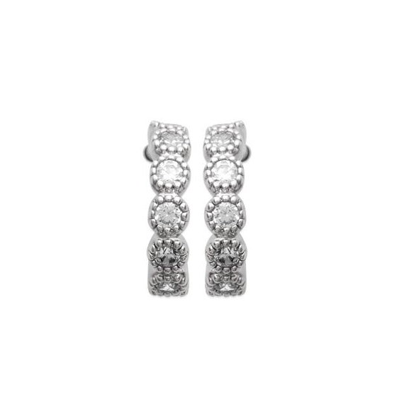 "Boucles d'oreille créoles serties de brillants en argent rodhié collection "" TRESOR """