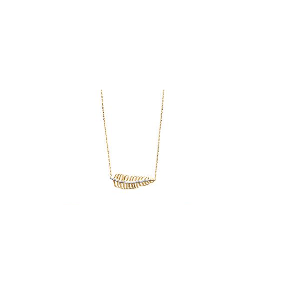 Collier plume plaqué or et brillants oxydes de zirconium Collection ALYZEE