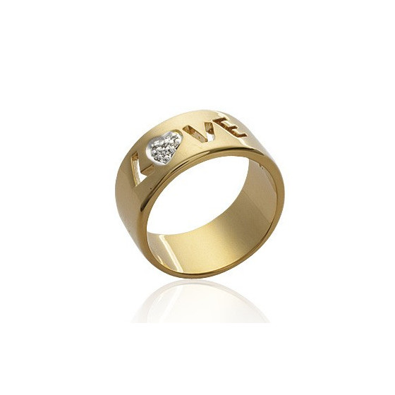 "Bague love alliance large et plate Collection ""MODE » en plaqué or et brillants"