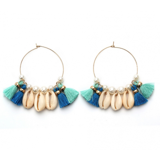 Boucles D Oreille Creoles Mode Tendance Pompons Perles Coquillages