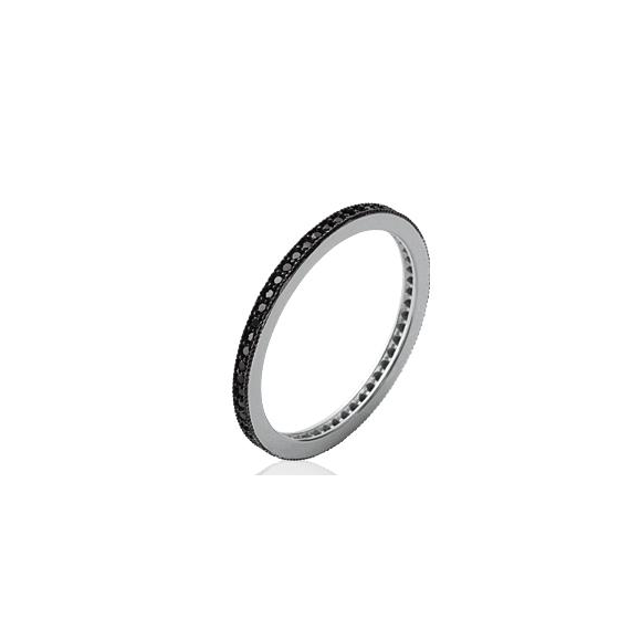 Bague alliance femme entierement sertie de brillants noirs.