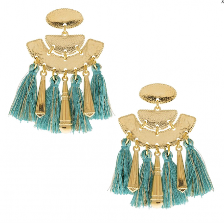 Boucles d'oreille SHABADA collection RIVIERA Pompons turquoises